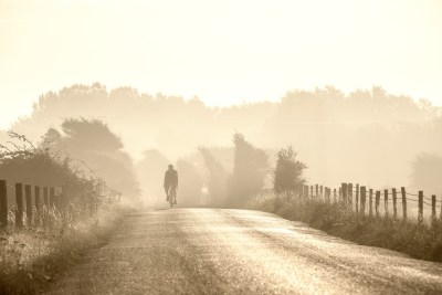 Strong backlight lends a watercolour effect to this image along a sun drenched country road