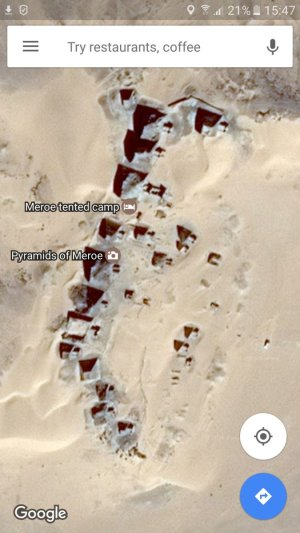 A labelled map of the north pyramids at Meroe, and a Google Maps satellite view on a phone