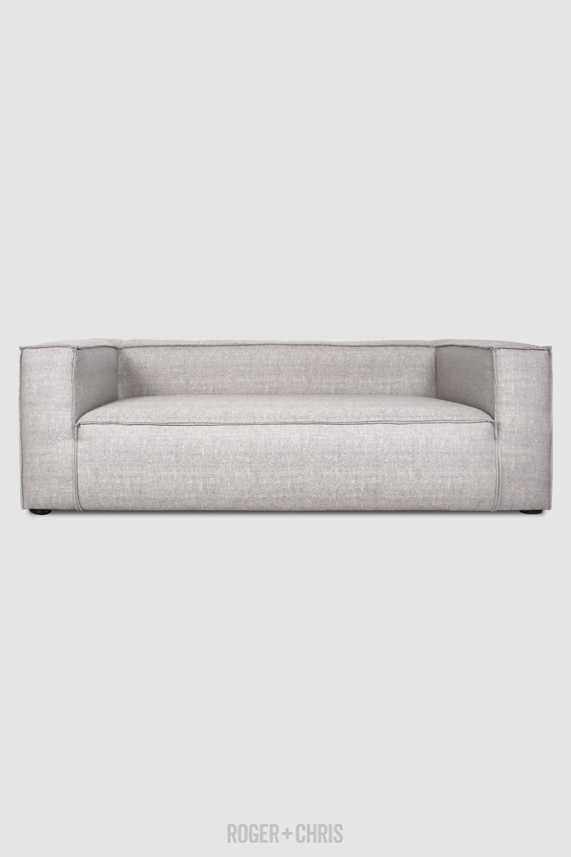 stain proof sofa fabric back of height johnny in sunbrella chartres graphite reverse stitch sofas and armchairs