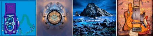 A composite of four artworks from artist Roger Dickinson