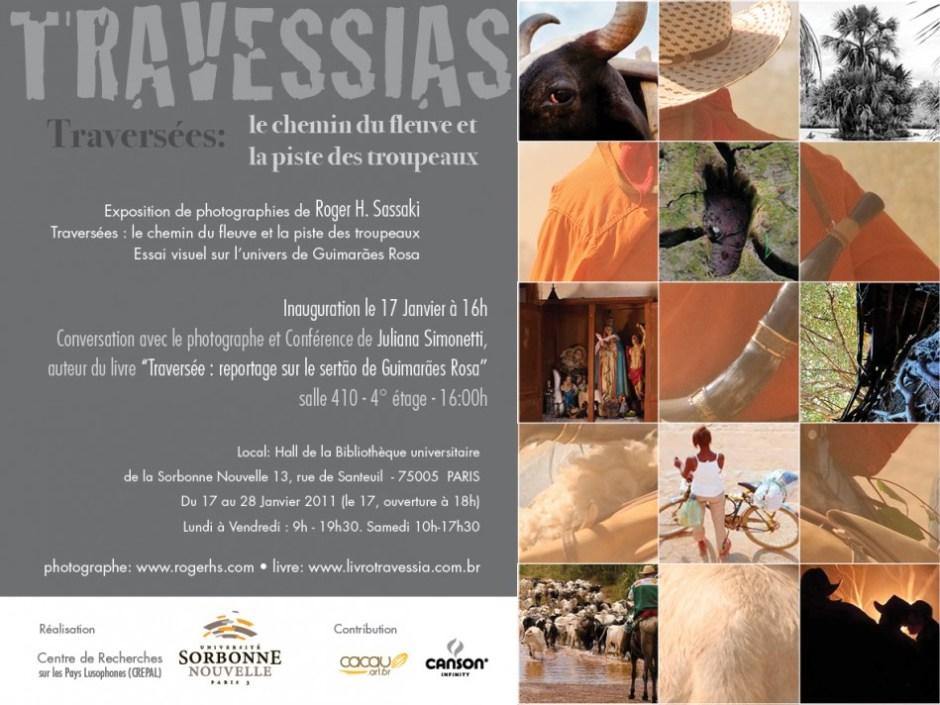 """Verso do convite da exposição """"Travessias"""" em Paris"""