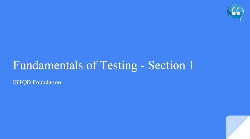 Fundamentals of Testing - Introduction