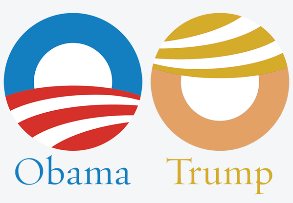 Matthew Gordon @ratherironic  shows how well the Obama logo works for Trump with some simple color changes and rotation