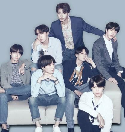 BTS: Clockwise, from left: V, J-Hope, RM, Jin, Jimin, Jungkook, and Suga