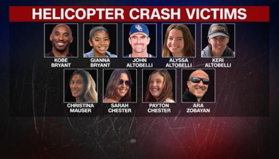Kobe Bryant helicopter crash victims