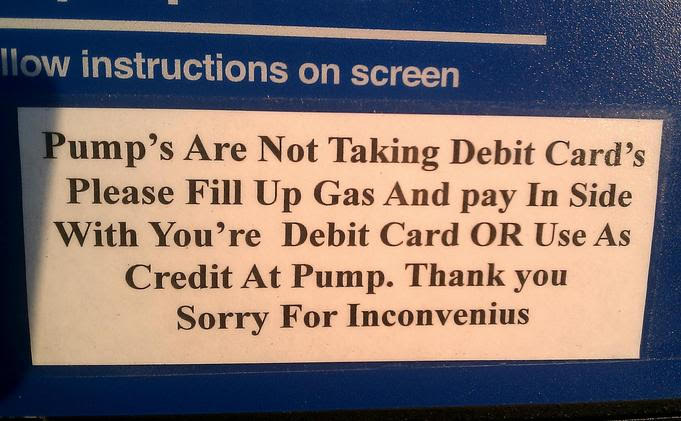 sign at the gas pump
