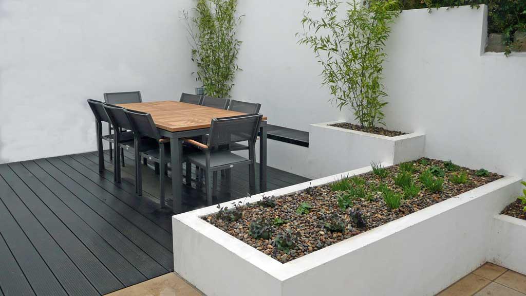 Minimalist white garden design  Rogerstone Gardens