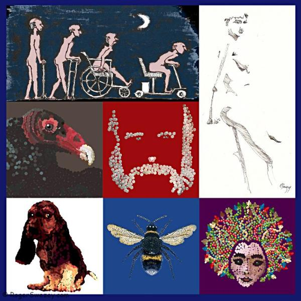 montage-roger-swezey-art-pixel-pointilism-feral-coot-beagle-bee-vulture-800