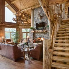 Log Home Living Room Decorating Ideas Wall Storage Units Photographer Cabin Images Photos Architecture Photo Toward Stairway Fireplace And Windows Clayton Ga