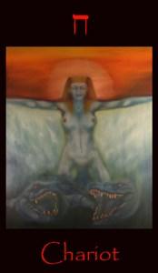 Tarot Chariot major arcana tarot card. Original fine art oil painting, symbolism, mytholoty, divination, impressionism