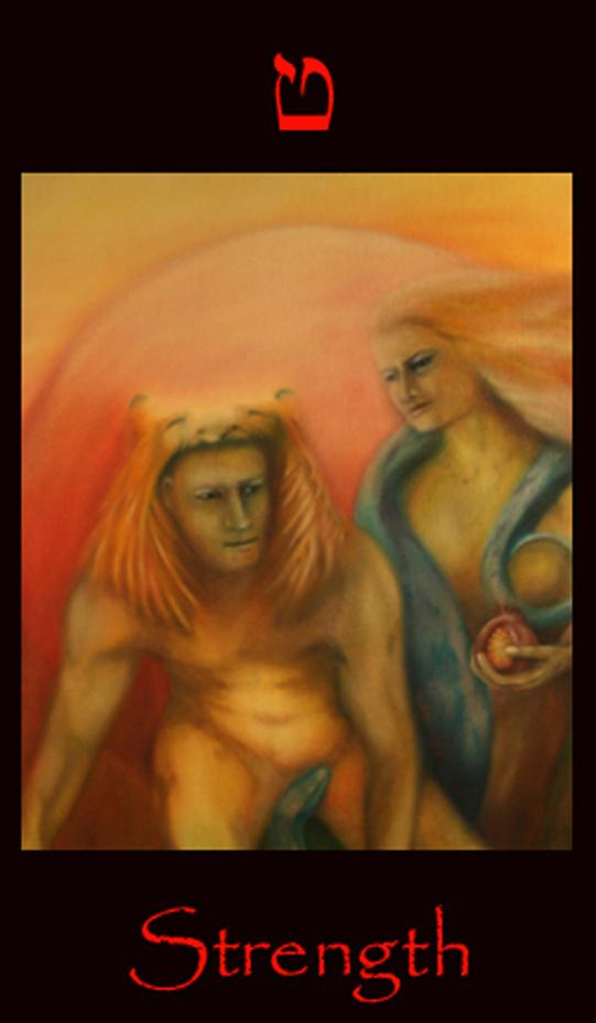 tarot strength, Strength tarot card. Major arcana tarot card used for astral projection and shamanic vision