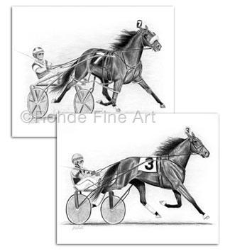 Pacer/Trotter Set : Standardbred Horse Art & Harness