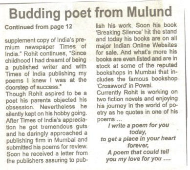 Budding poet from Mulund, Rohit N Shetty