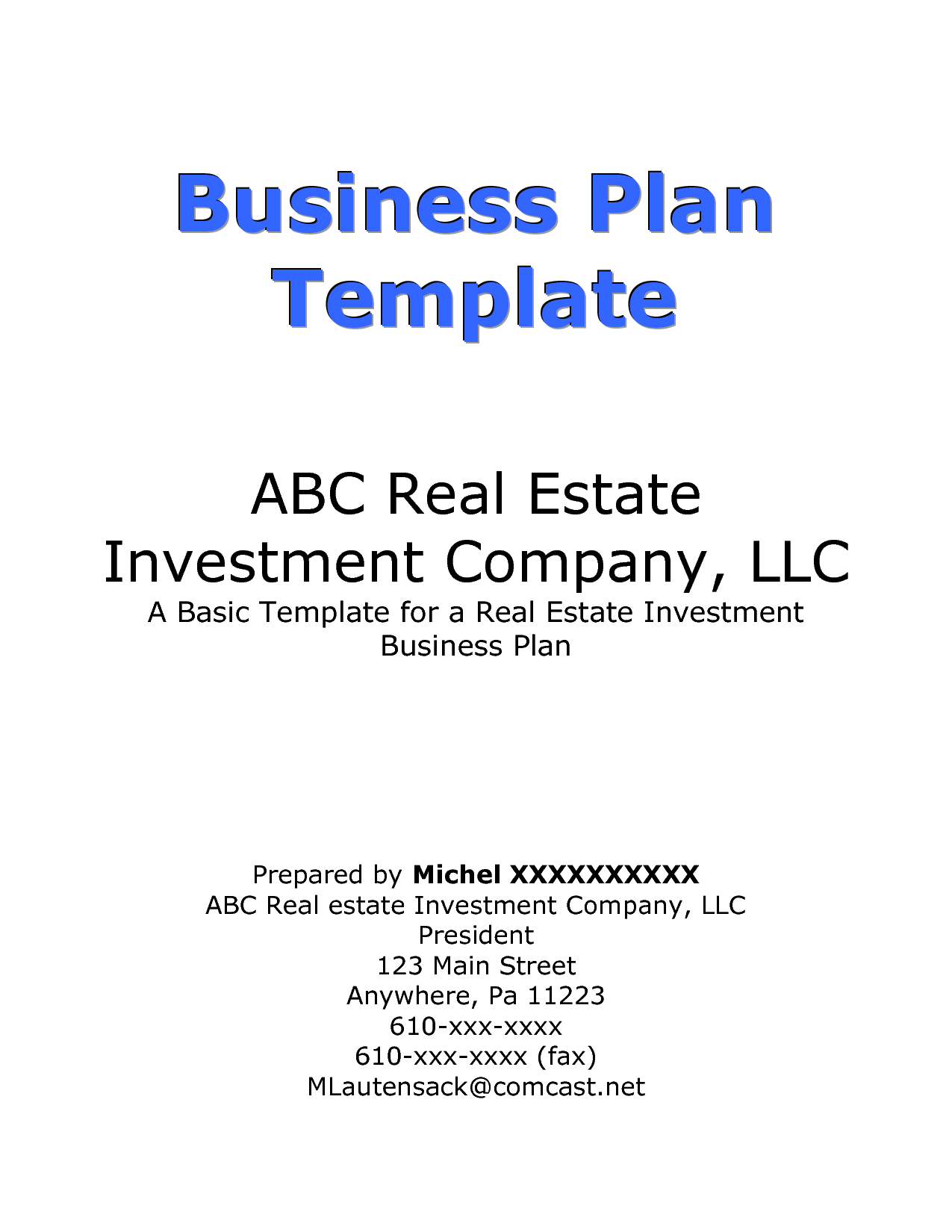 business cover pages