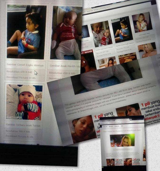 "Screenshots of Harith Iskander's son photos that appeared in an ""allegedly pedophile"" porn website"