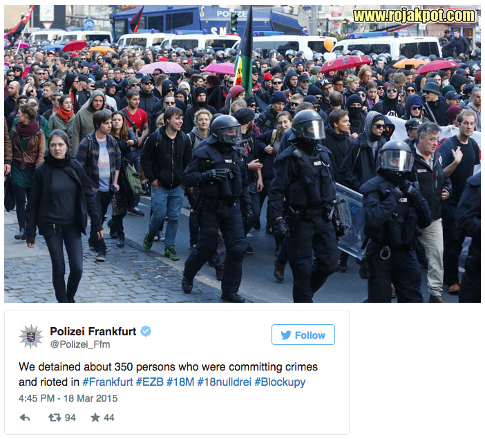 Frankfurt Polizei arrests 350 people at Blockupy 2015