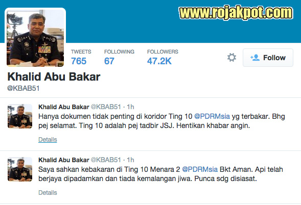 IGP Khalid Abu Bakar's tweets on Bukit Aman fire