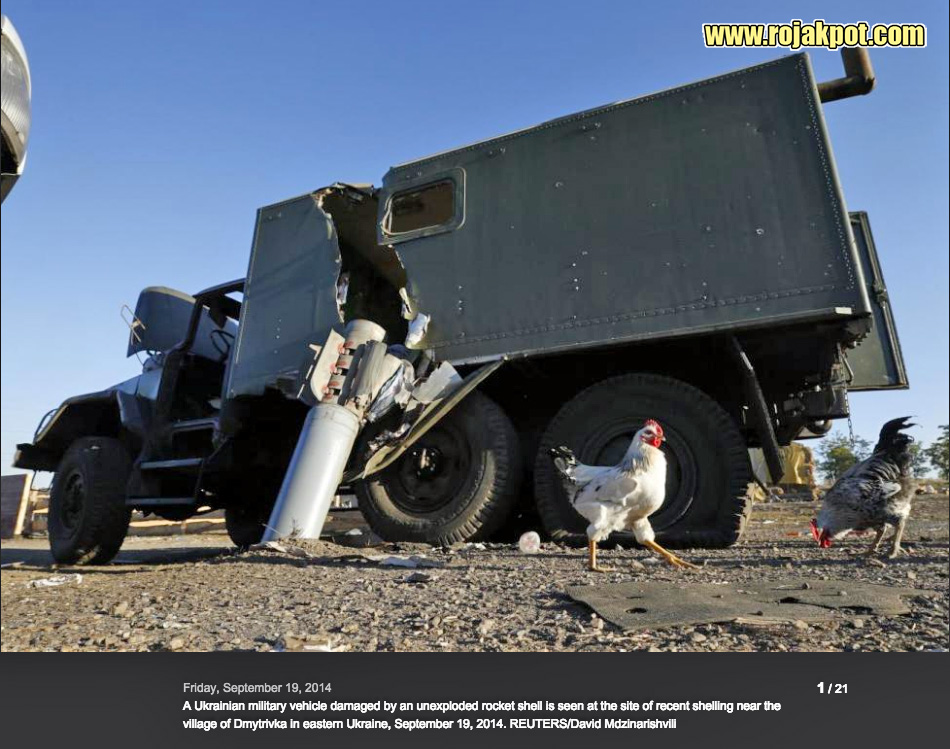 The picture of the dud rocket was taken by David Mdzinarishvilli of REUTERS.