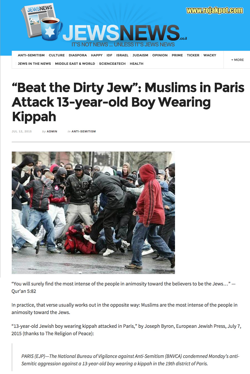 Muslims in Paris Attack 13-year-old Boy Wearing Kippah
