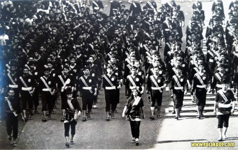 Silat Seni Gayong practitioners during a National Day parade in Shah Alam, Selangor in 1970