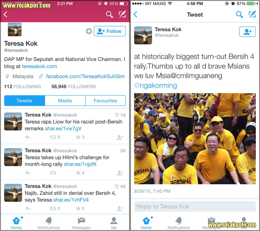 Teresa Kok's latest tweets as of 6th of September 2015