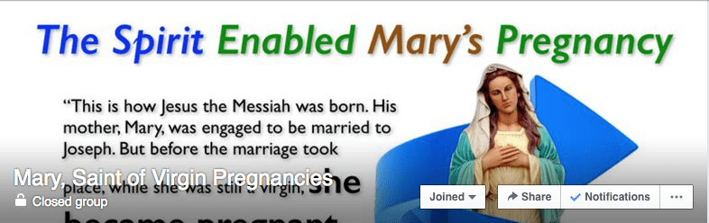 Facebook group of Mary, Saint of Virgin Pregnancies