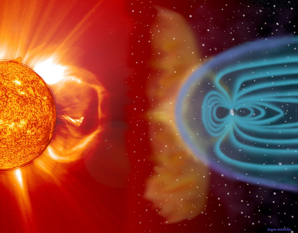 Earth's magnetic field protects against solar and cosmic radiation