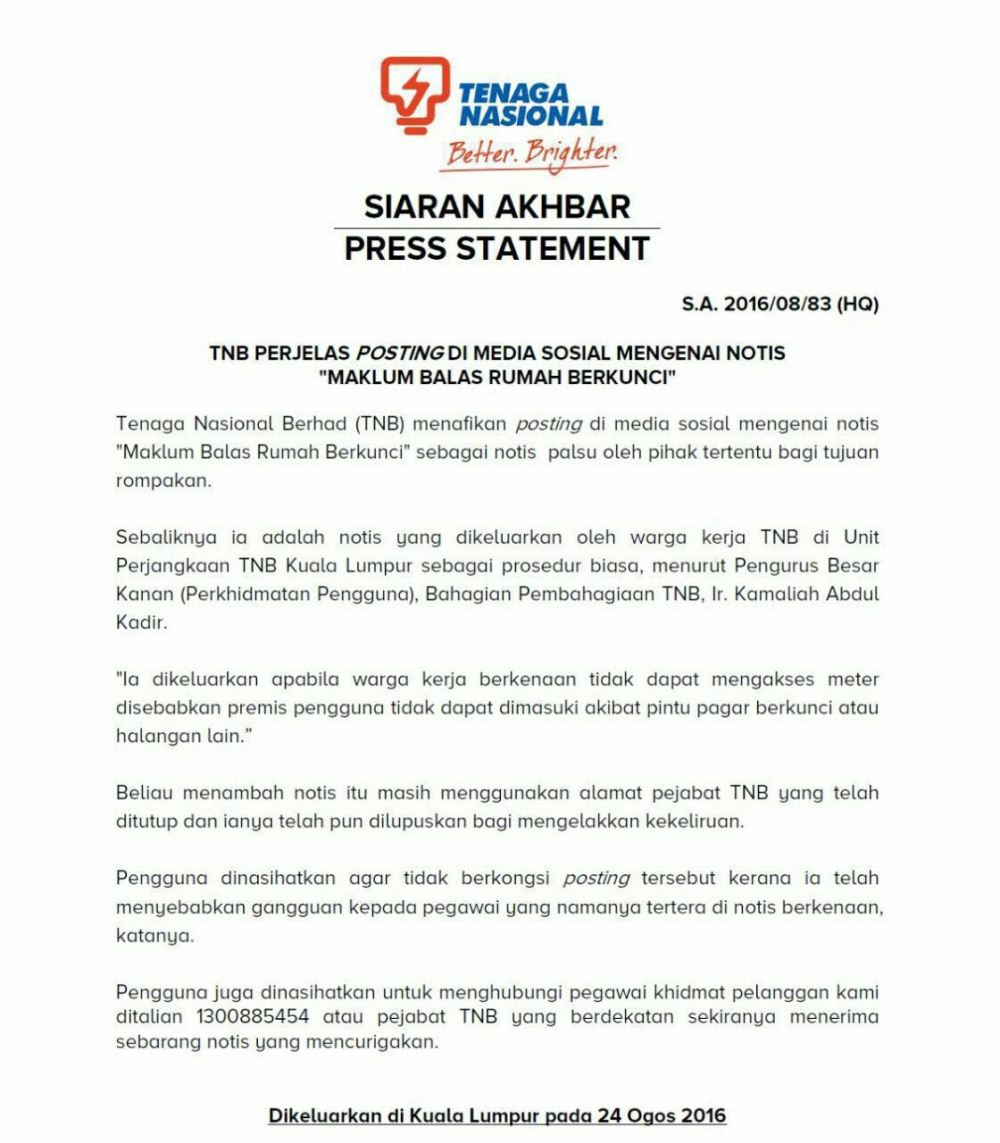 Robbery Using Fake TNB Notice Debunked