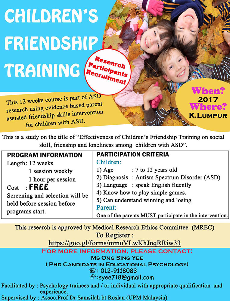 Free Children Friendship Training For Autistic Children