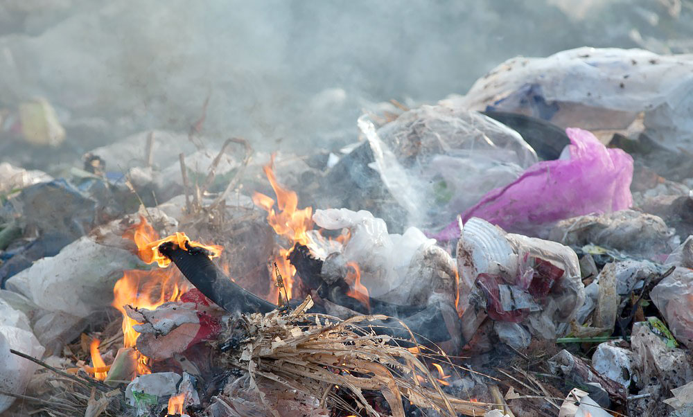 Burning rubbish