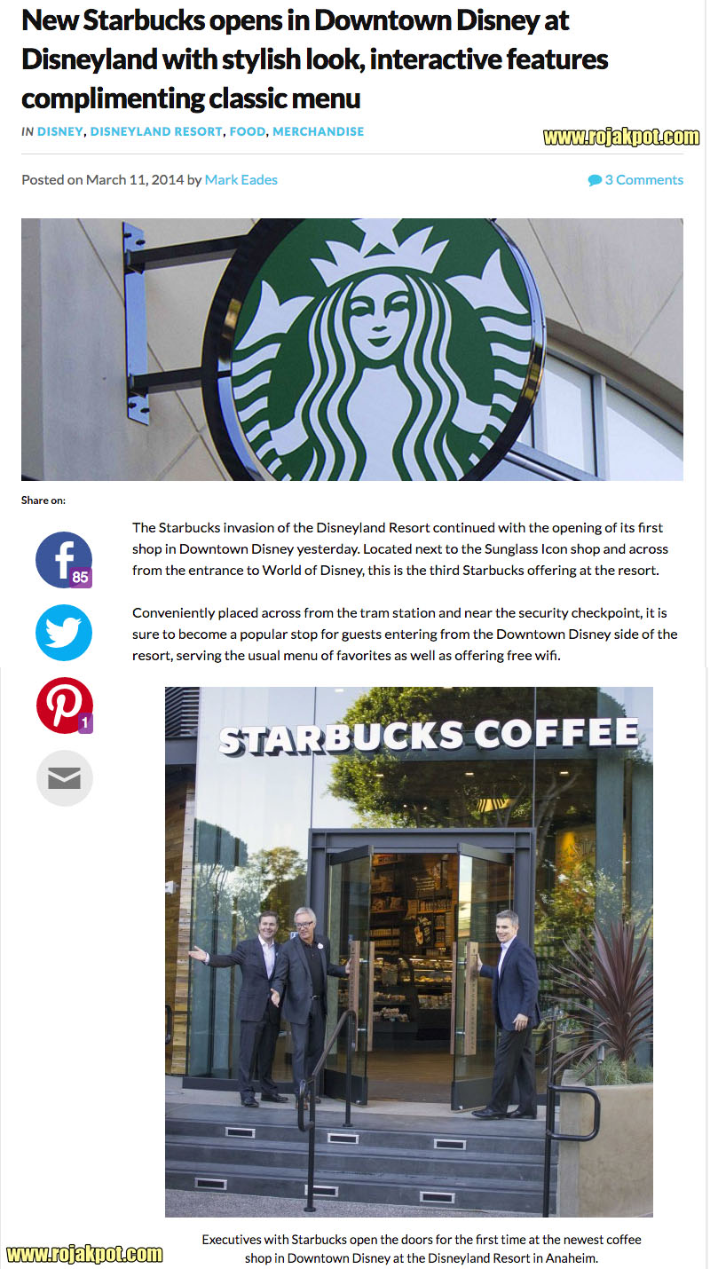 News post on Starbucks opening in Disney
