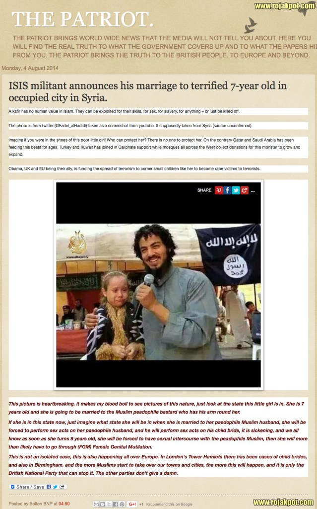 The Patriot - ISIS jihadist married 7 year old girl