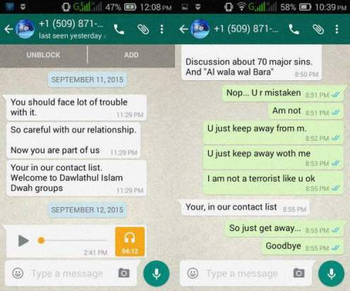 ISIS WhatsApp invitatoin to Dawlathul Islam Dwah