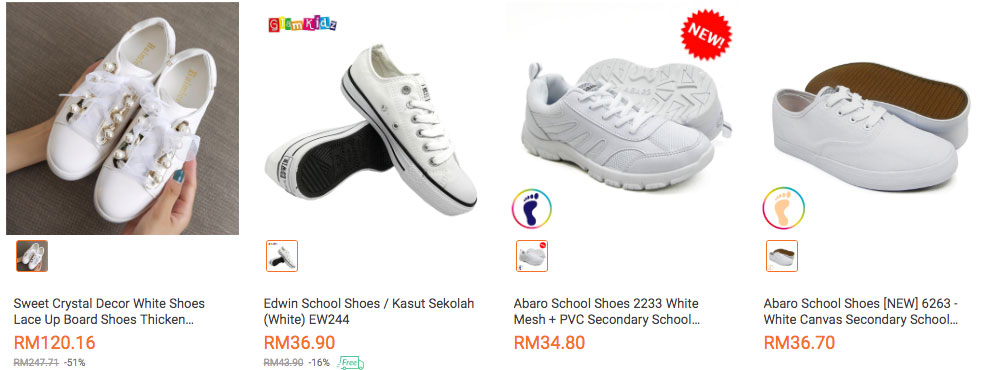 White School Shoes for Malaysian students
