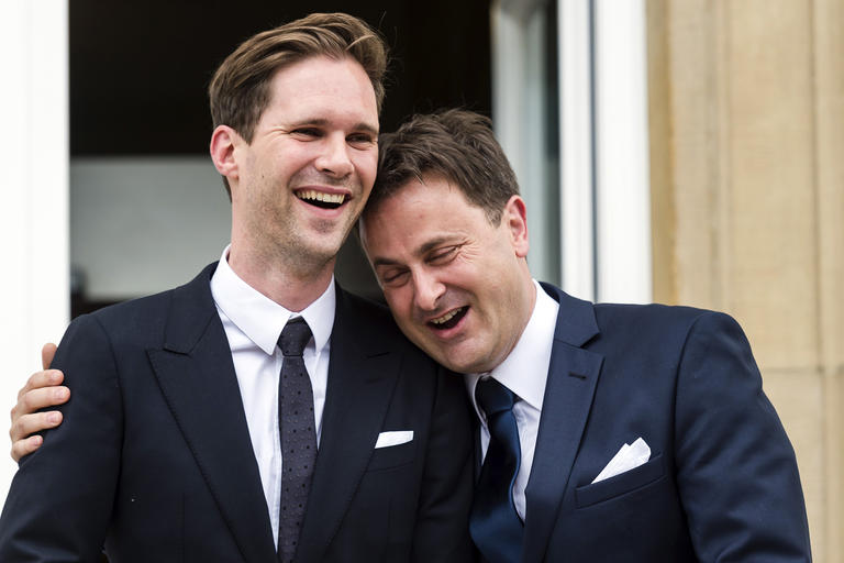 Luxembourg Prime Minister Xavier Bettel and partner Gauthier Destenay