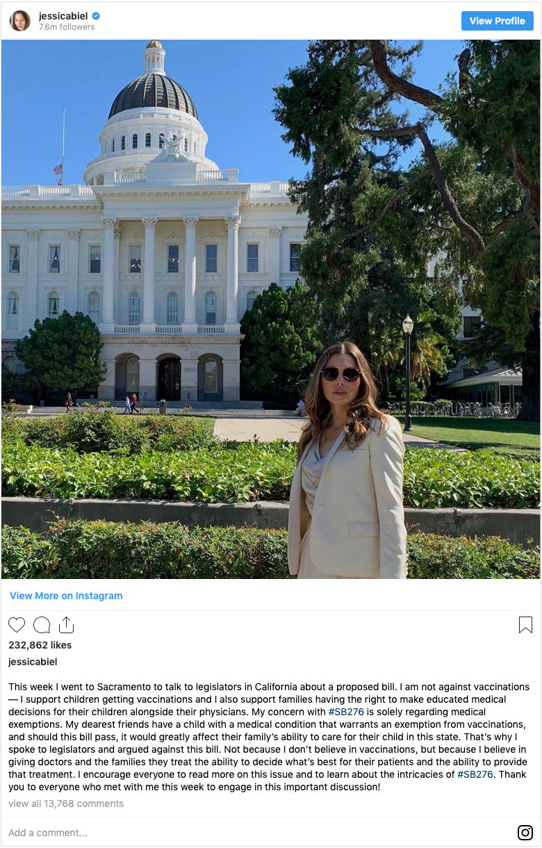 Jessica Biel Instagram post on SB 276