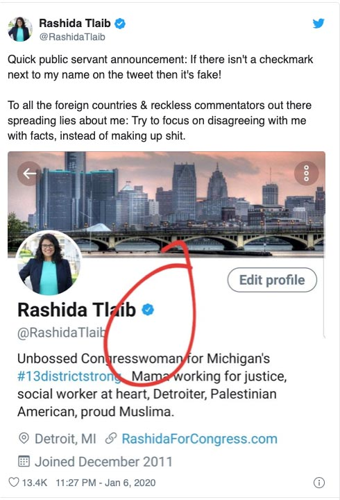 Rashida Tlaib slams fake 2019 tweet