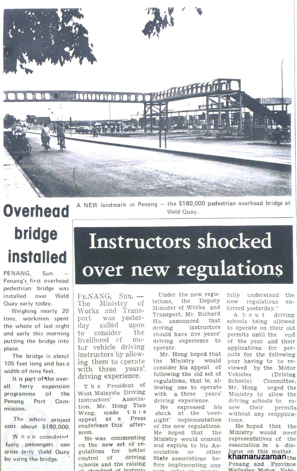 Penang overhead bridge news clipping