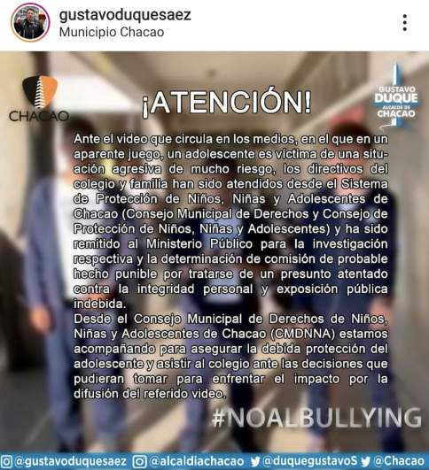 Chacao Munipality Instagram post on Santo Tomas de Aquino School Skull Breaker video