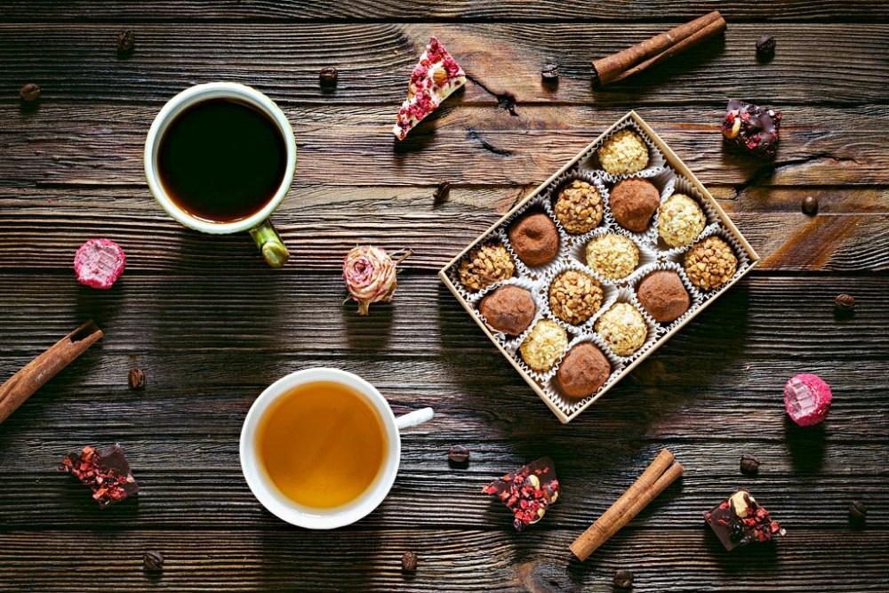 Coffee tea and chocolates
