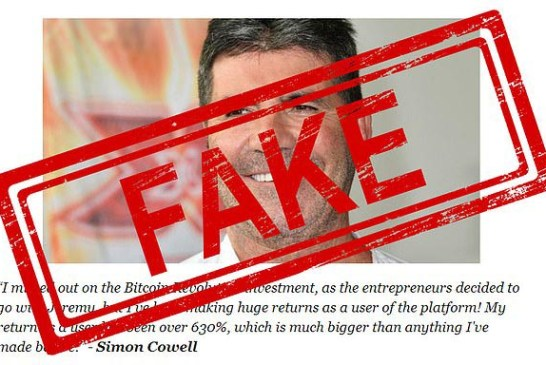 Fake Simon Cowell Bitcoin Revolution article