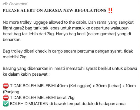 AirAsia Cabin Luggage Limits WhatsApp