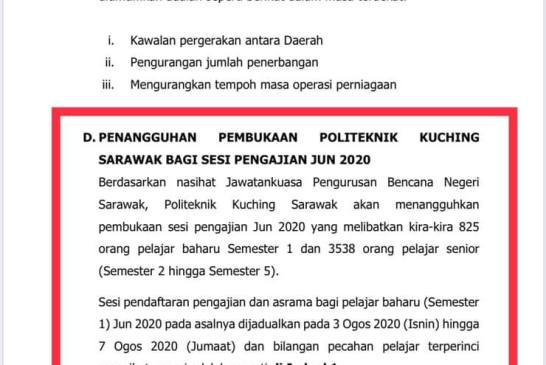 Sarawak COVID-19 entry August 2020 press release 01