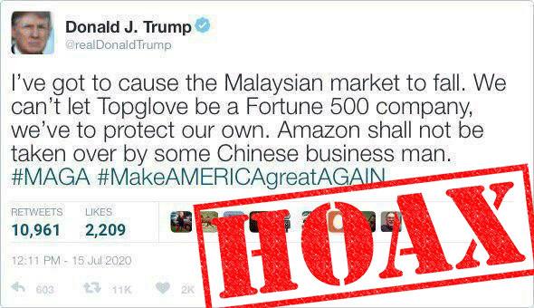 Trump Top Glove fake tweet
