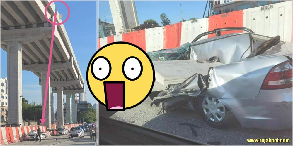 A Driver's Lucky Escape From A Falling Concrete Slab!