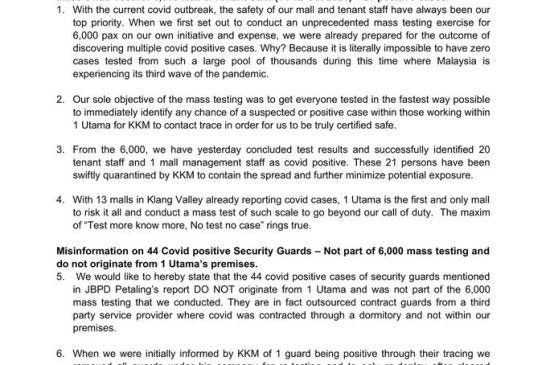 1 Utama COVID-19 cases statement