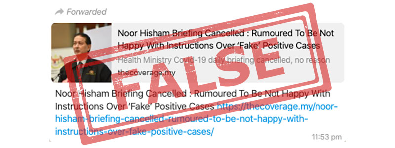 Dr Noor Hisham Was NOT Asked To Fake COVID-19 Cases!
