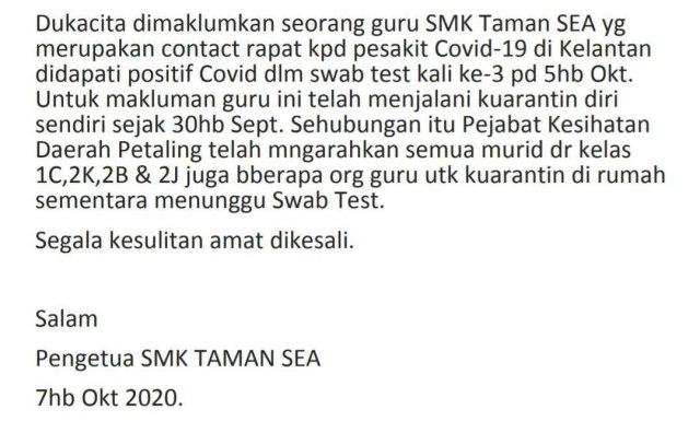 SMK Taman Sea COVID-19 statement