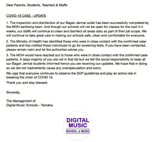 Yamaha Music School Bagan Jermal : COVID-19 Exposure!