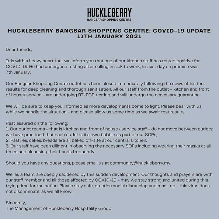 Huckleberry BSC : Closed After COVID-19 Case!